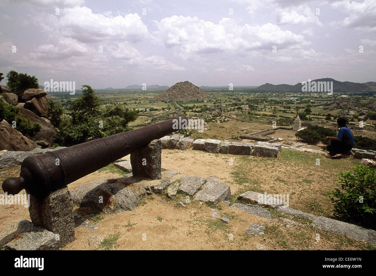 MAA 83294 : cannon gun on genji fort tamil nadu india - Stock Image