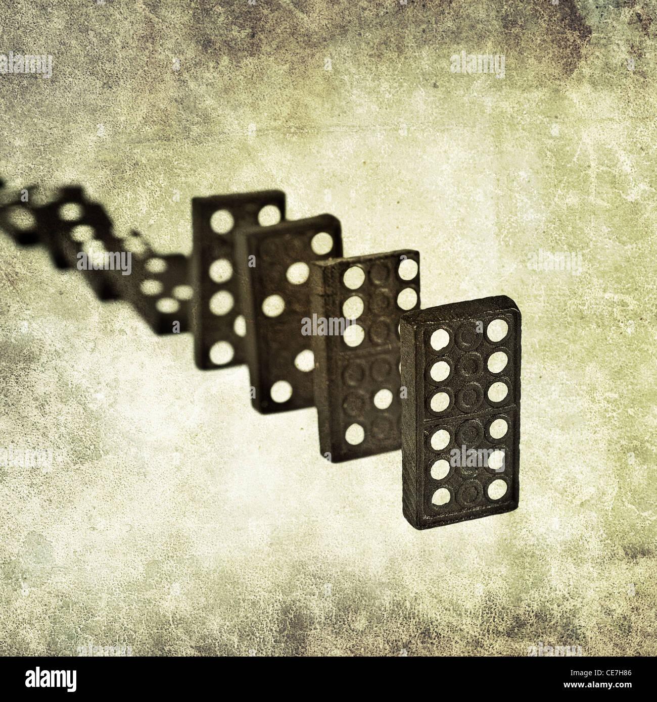 domino line - Stock Image