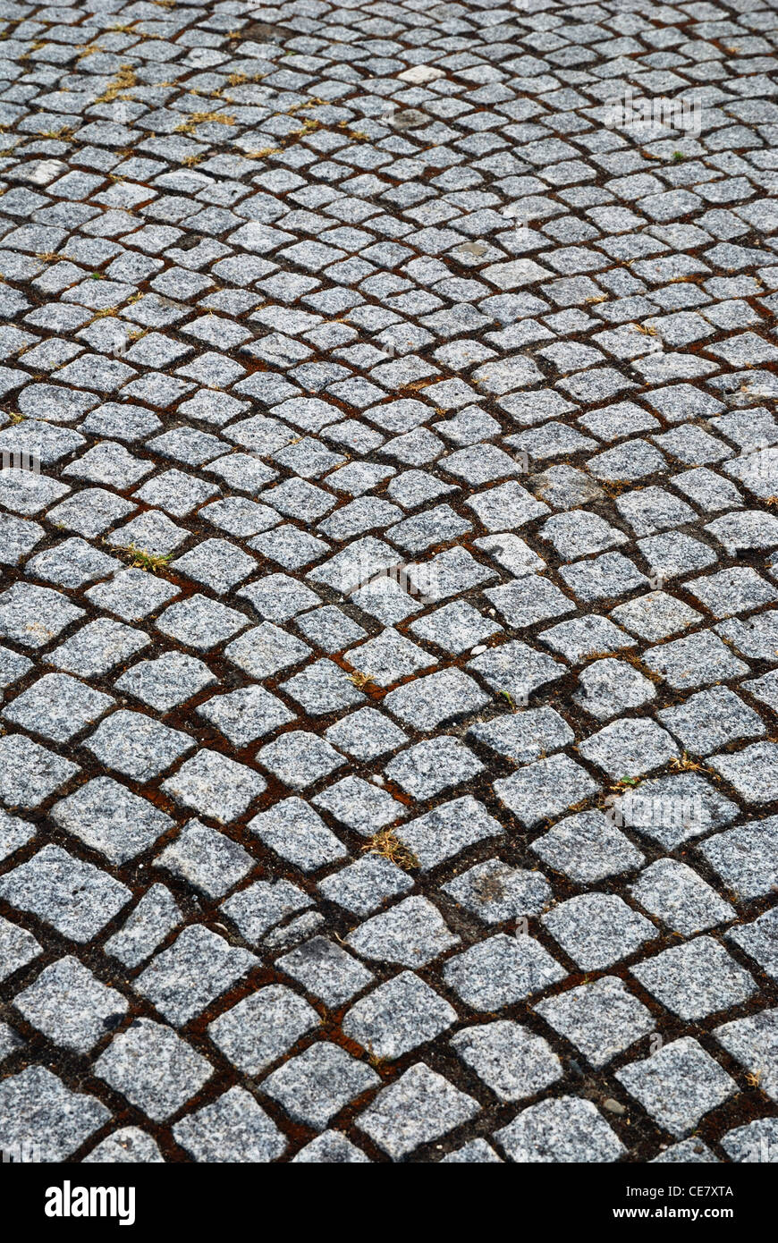 Granite stones of pitcher paving - Stock Image