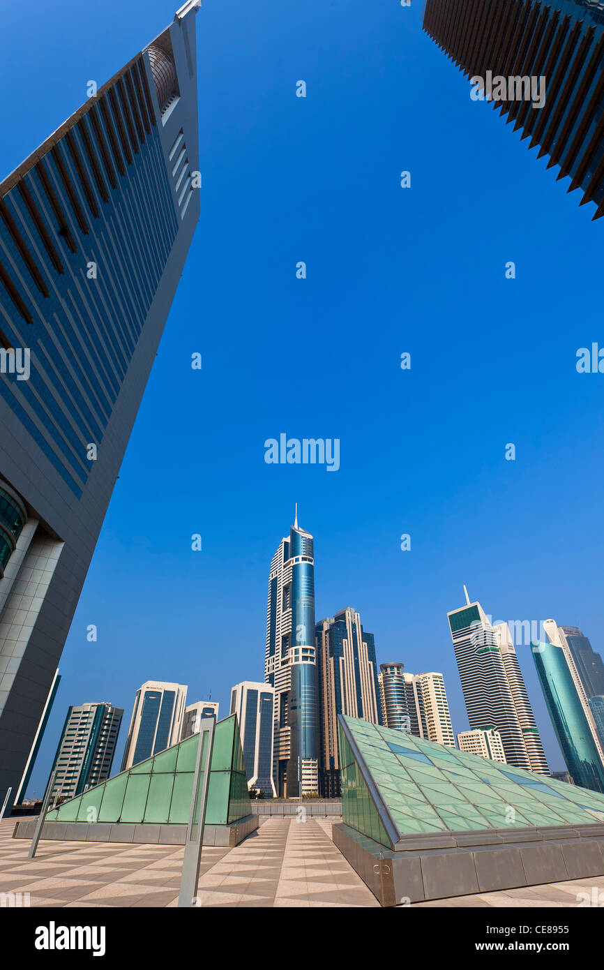 Dubai, Emirates Towers from the Dubai International Financial Centre - Stock Image