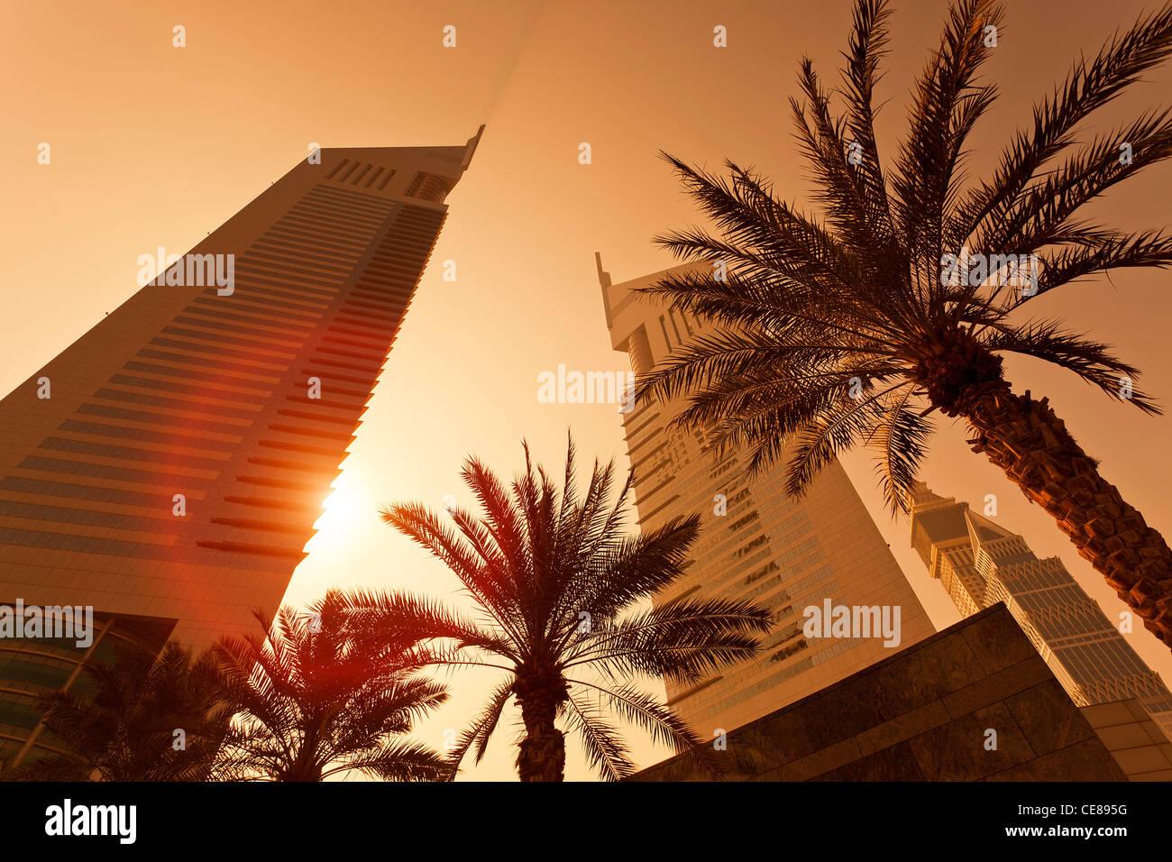 Dubai, Emirates Towers at Sunrise - Stock Image