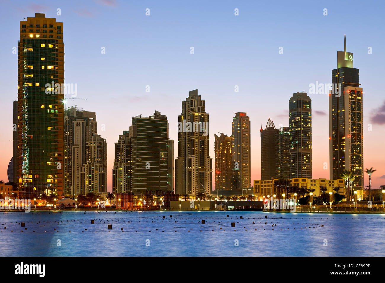 Dubai, Skyscrapers at Night - Stock Image