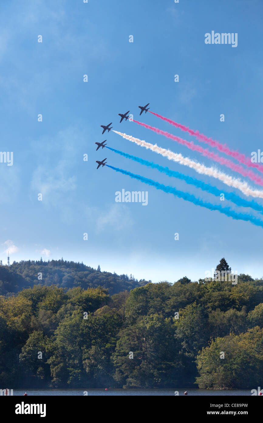 Red Arrows at Windermere Airshow 2011 - Stock Image