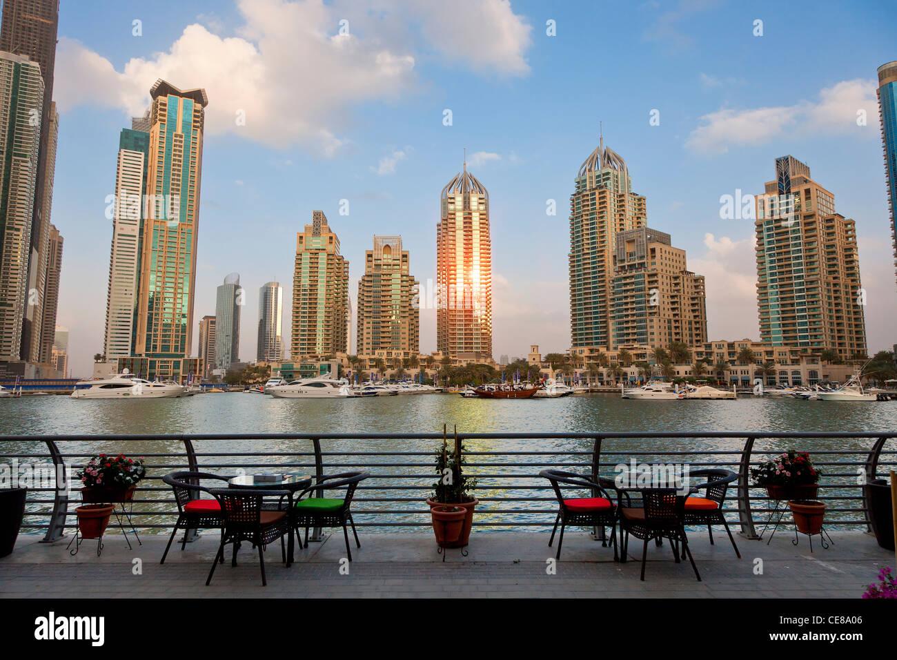Asia, Arabia, Dubai Emirate, Dubai, Harbor and Skyscrapers of Dubai Marina - Stock Image