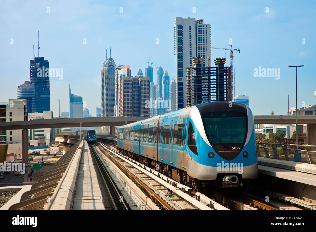Dubai, Skyline and Dubai Metro - Stock Image