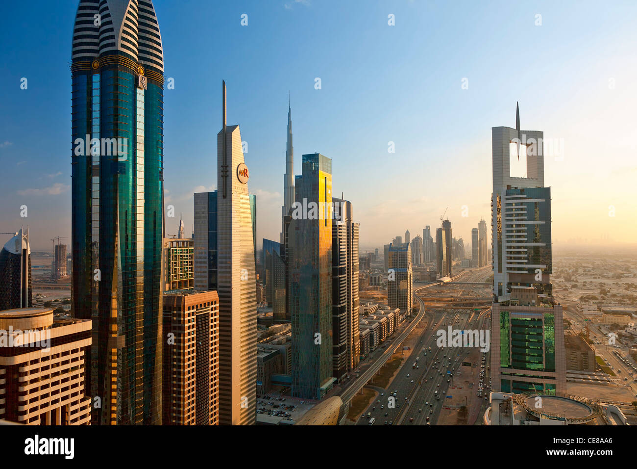 Dubai, Towering office and apartment towers along Sheikh Zayed Road - Stock Image