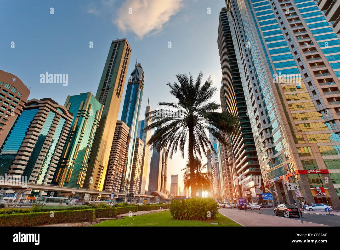 Asia, Arabia, Dubai Emirate, Dubai, Sheikh Zayed Road - Stock Image