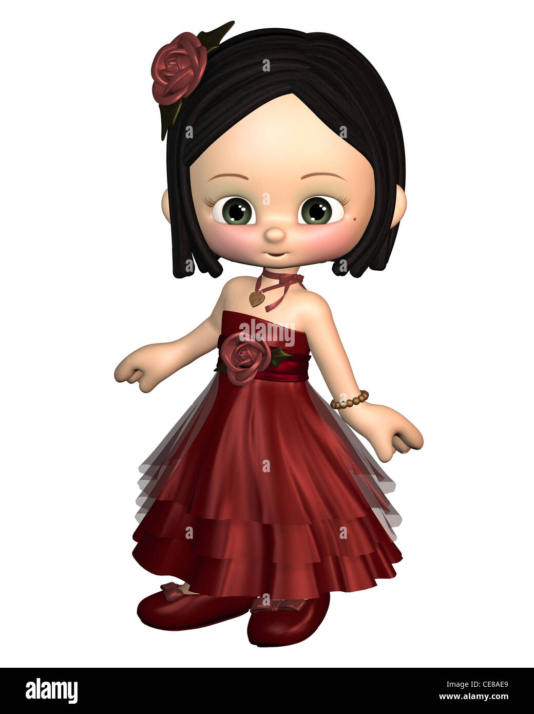 Cute Toon Valentine Girl in a red dress - Stock Image