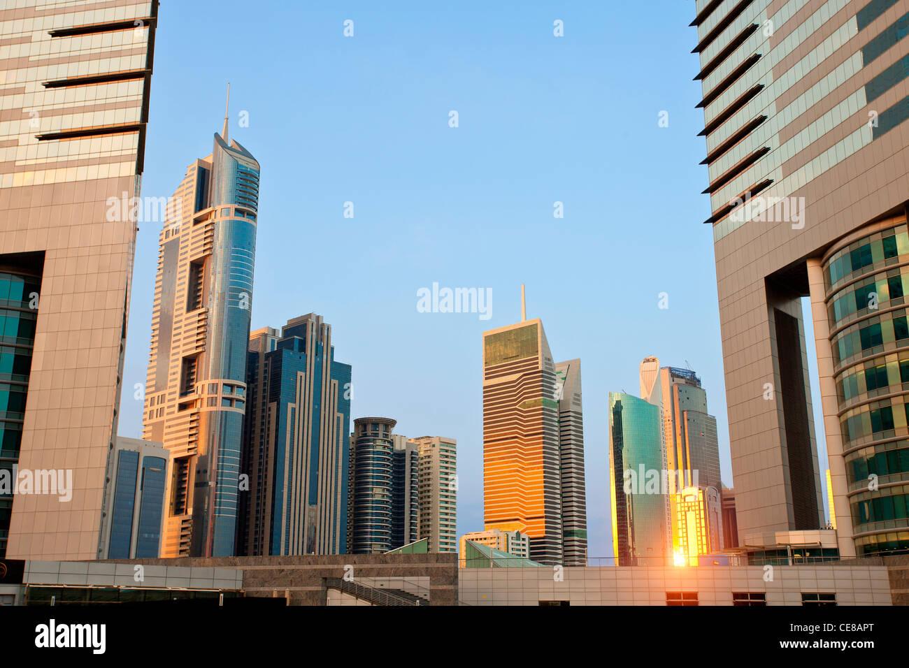 Dubai, Skyscrapers at Sunset - Stock Image