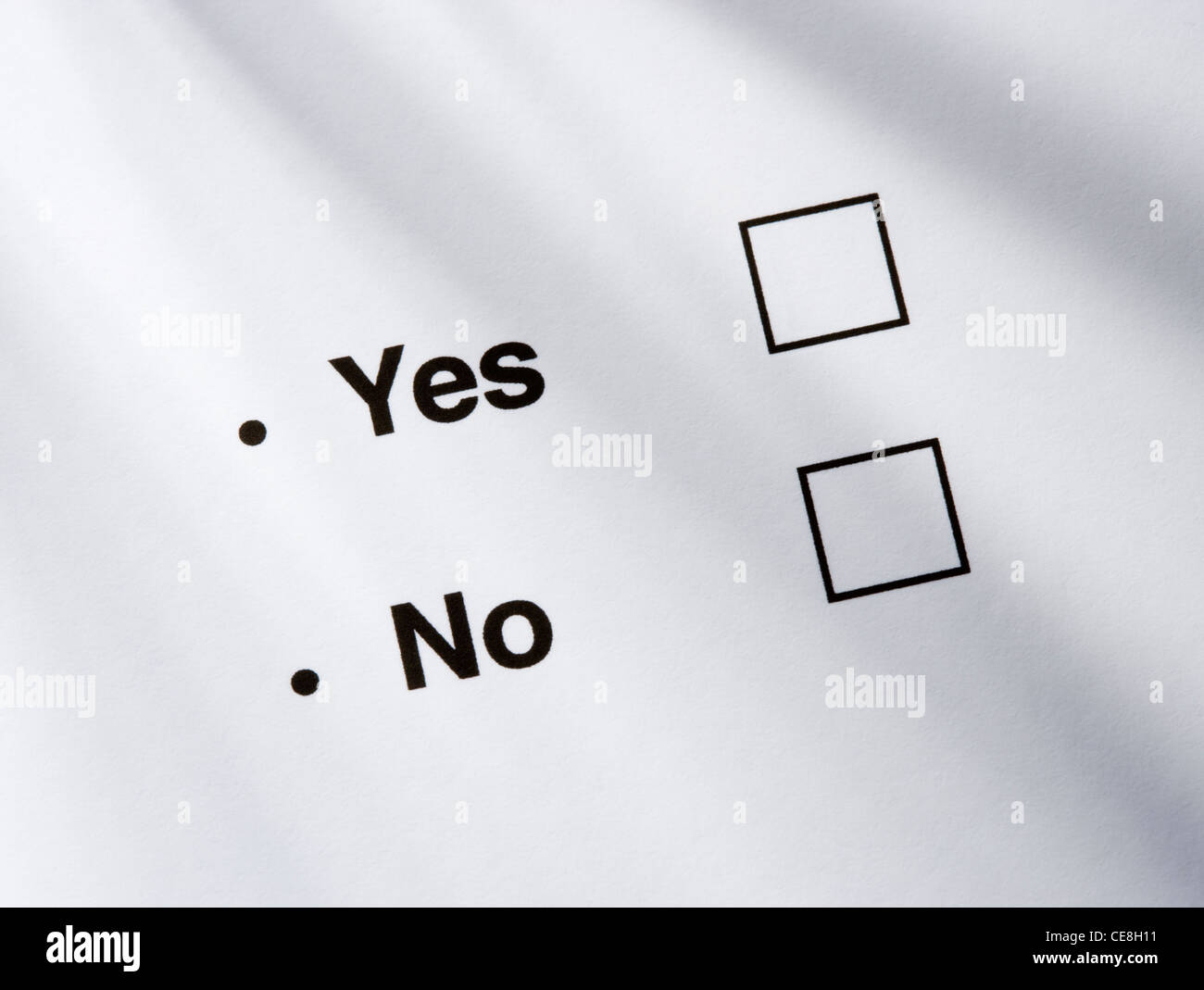 Yes/no option boxes. - Stock Image