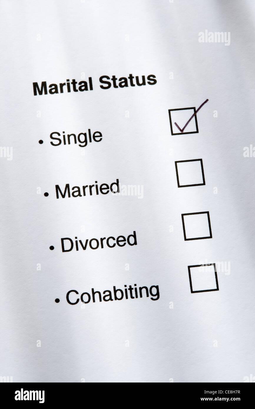 Marital status questionnaire, single ticked. - Stock Image