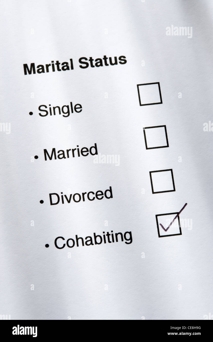 Marital status questionnaire, cohabiting ticked. - Stock Image