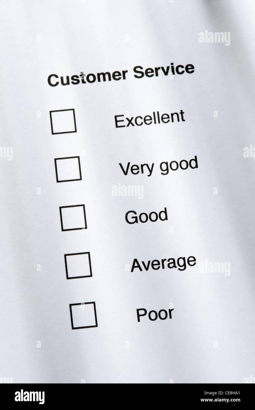 Customer service survey - Stock Image