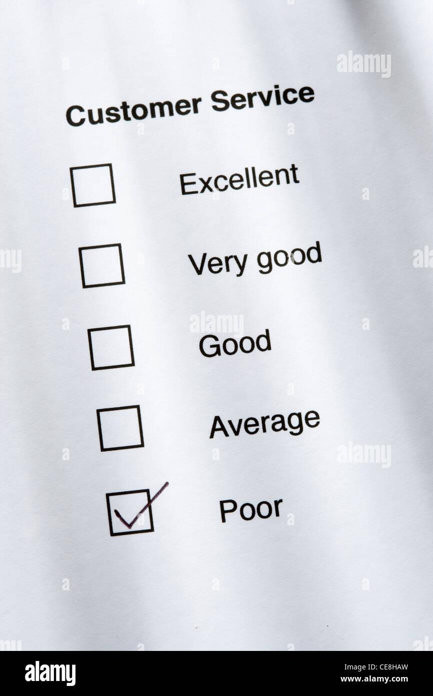 Customer service survey - poor - Stock Image