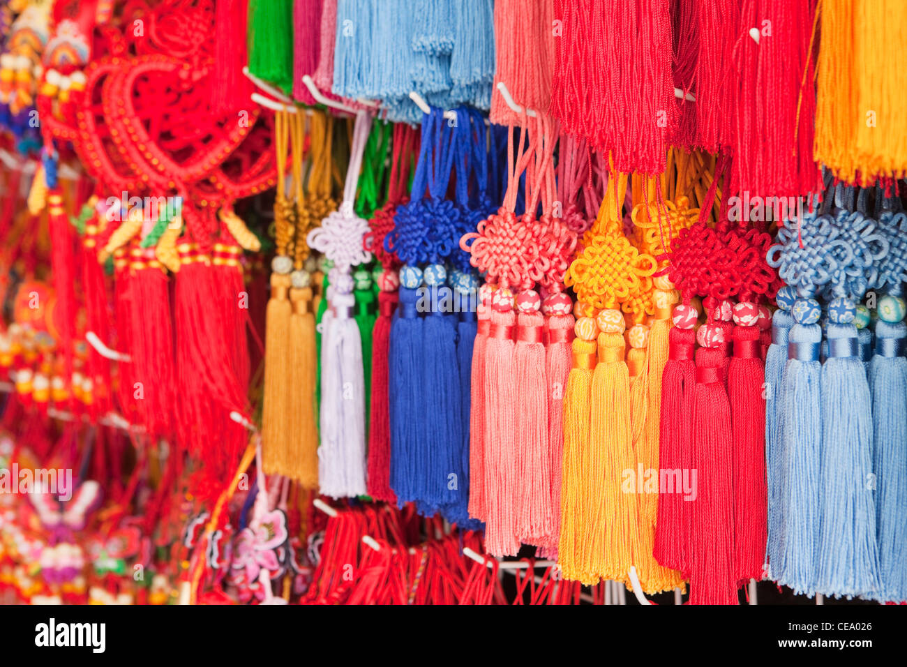 Love knots for sale; Yuyuan Bazaar; Shanghai; China - Stock Image