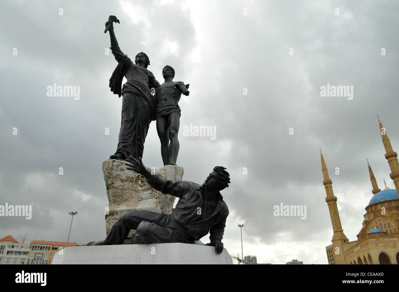 Martyrs' Square, Beirut, bullet holes in the statue, Lebanon - Stock Image