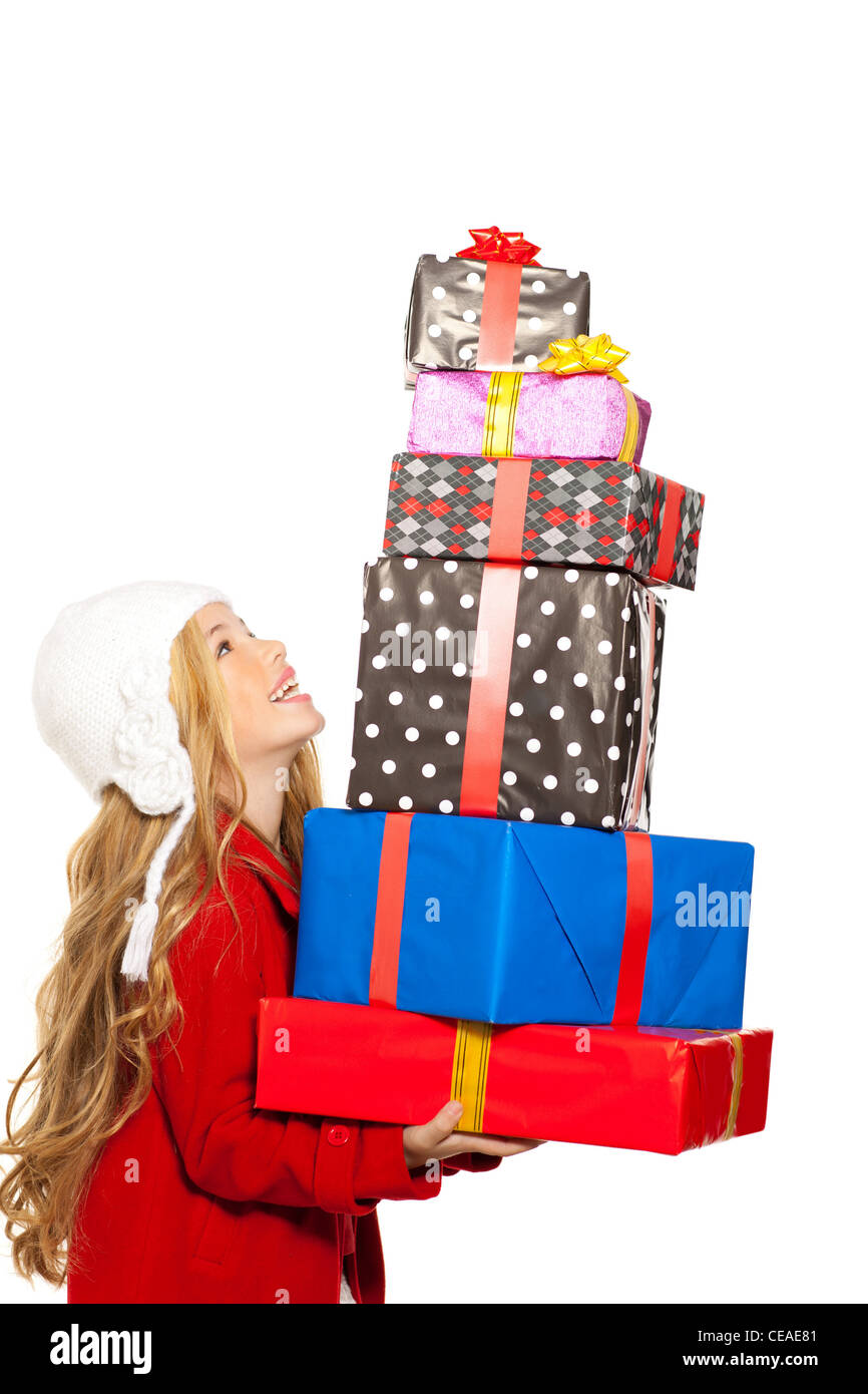 little girl holding gifts in christmas Stock Photo: 43256641 - Alamy