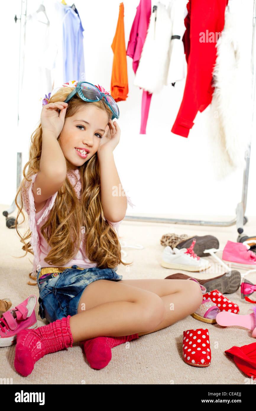 fashion blond little girl - Stock Image