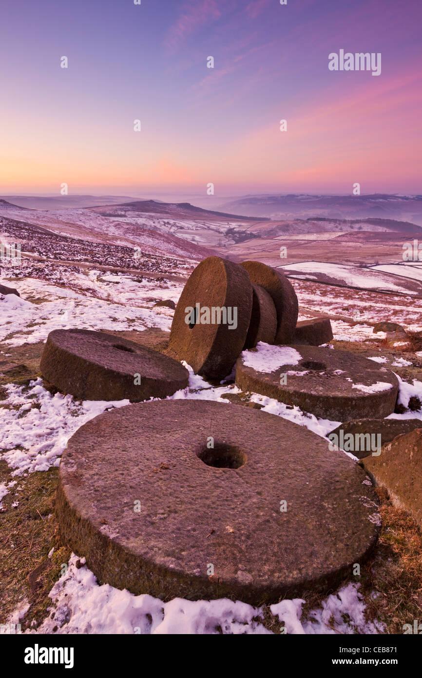Wheelstones on Stanage edge Derbyshire peak district  England UK GB EU Europe - Stock Image