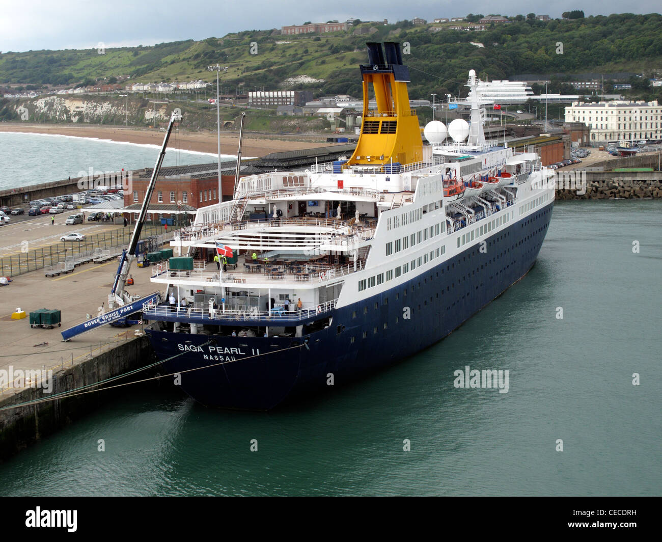 Saga Pearl 11 cruise liner alongside a cruise terminal in Dover Harbour Kent England - Stock Image