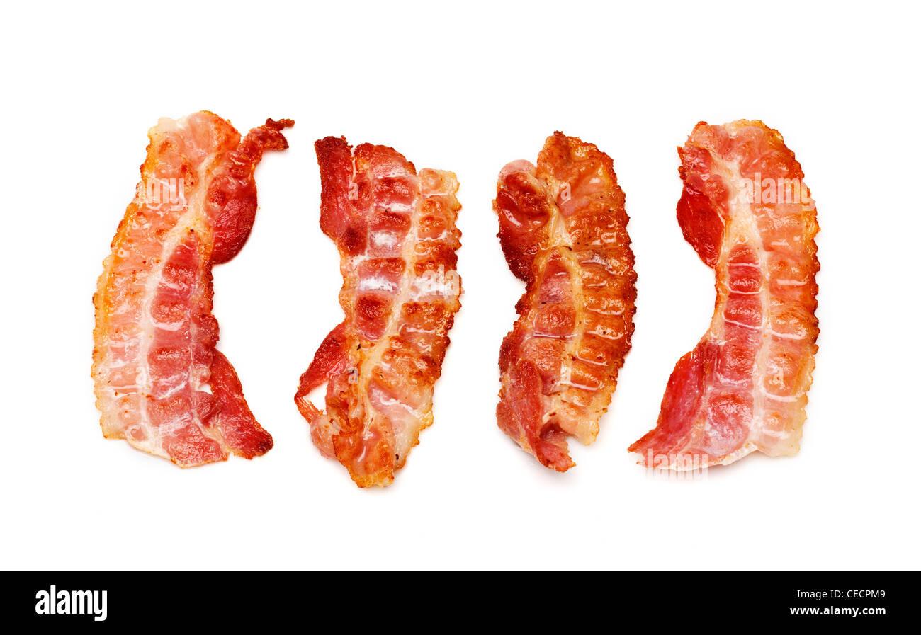 Bacon rashers on white background - Stock Image