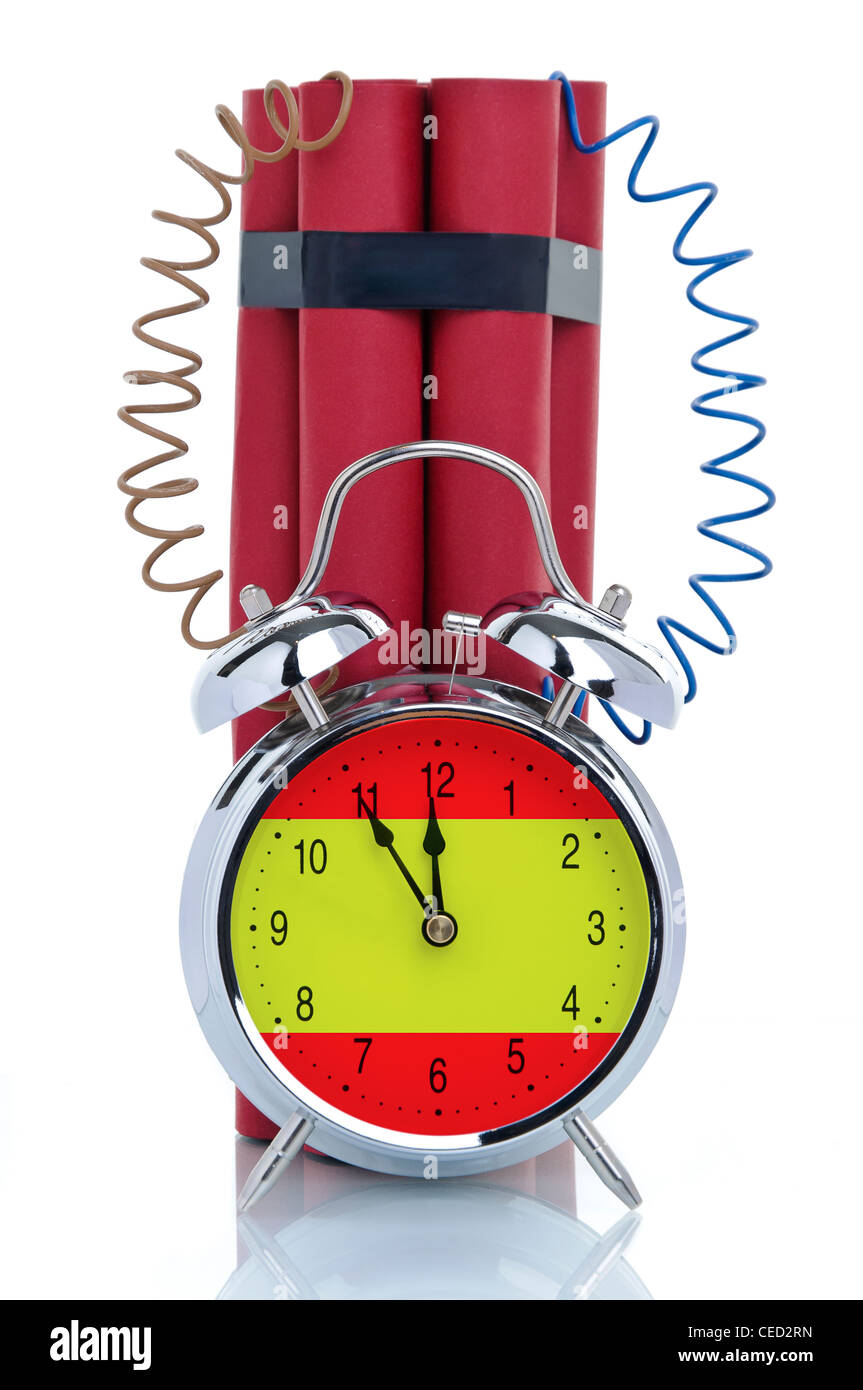 Time bomb, alarm clock attached to dynamite sticks, symbolic image, crisis in Spain - Stock Image