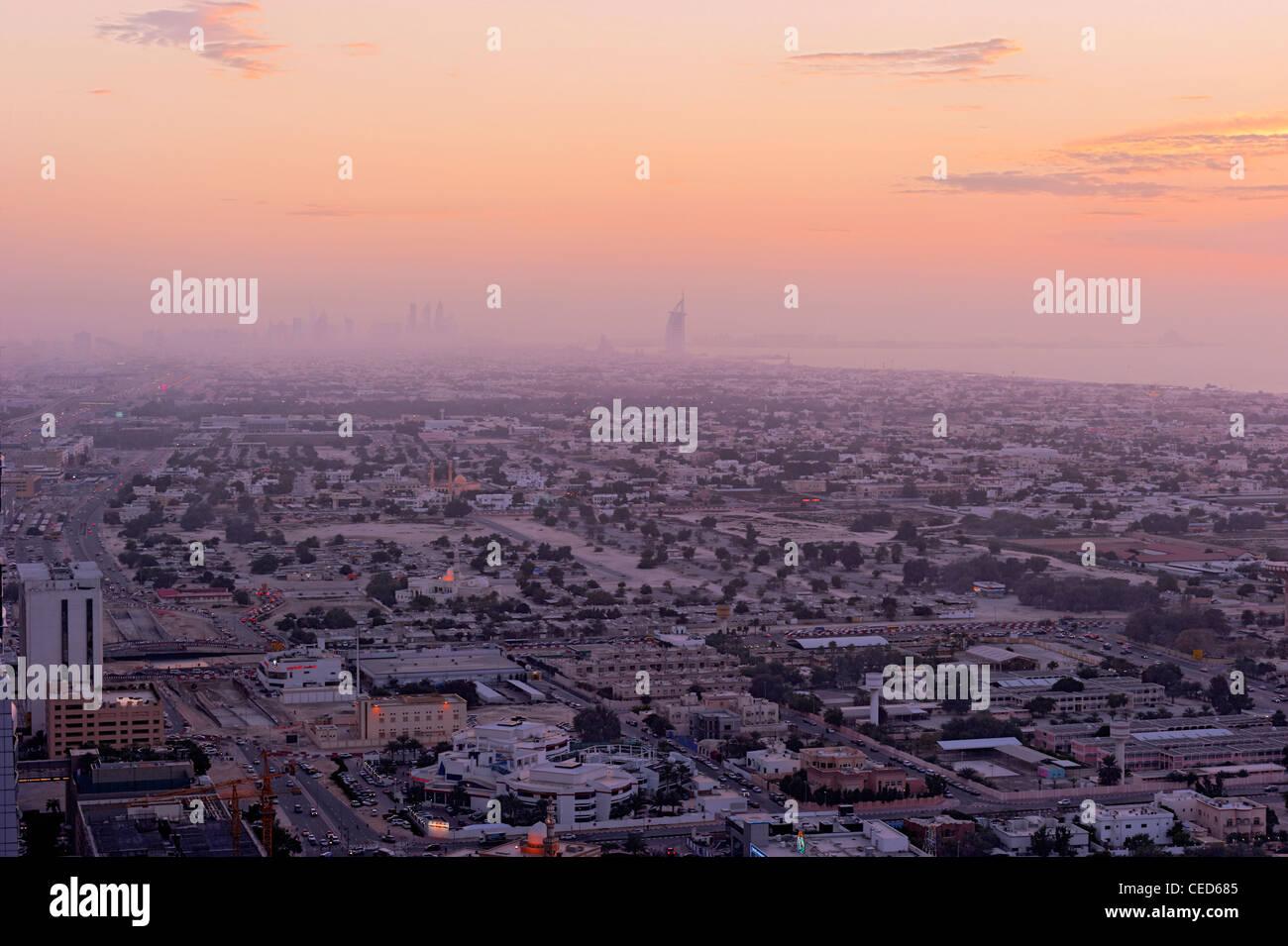 Sunset at the Persian Gulf, megacity, Jumeirah, Dubai, United Arab Emirates, Middle East - Stock Image