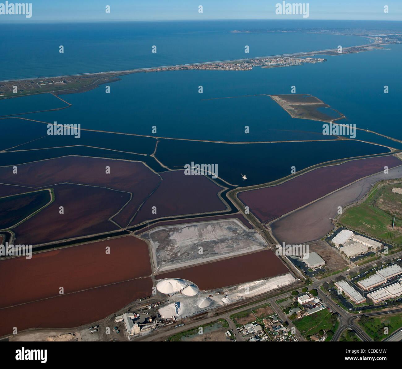 aerial photograph salt ponds San Diego Bay, California - Stock Image