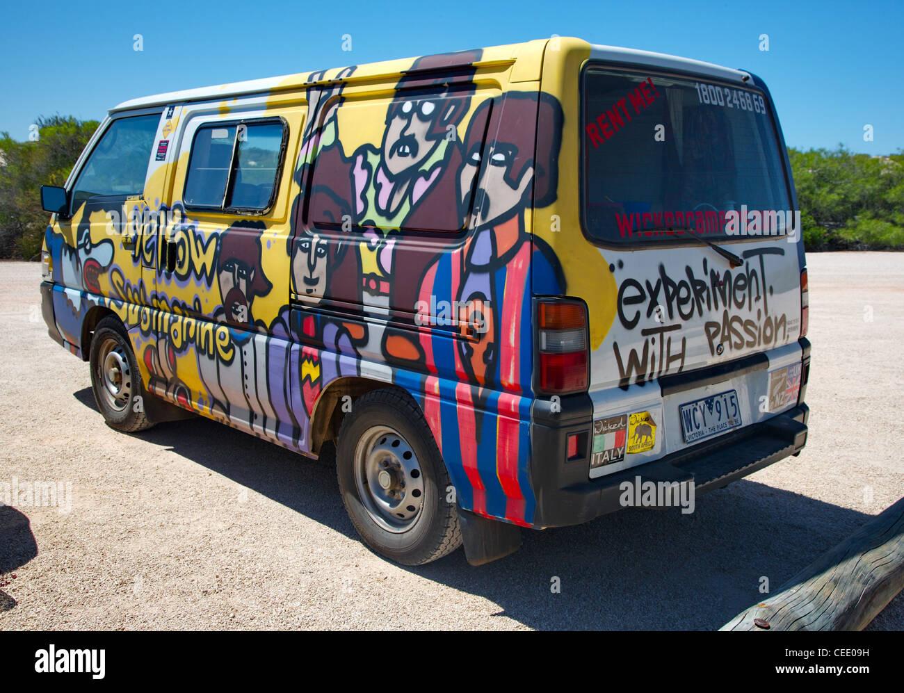 Wicked Campers Beatles Yellow Submarine camper van in a Western ...