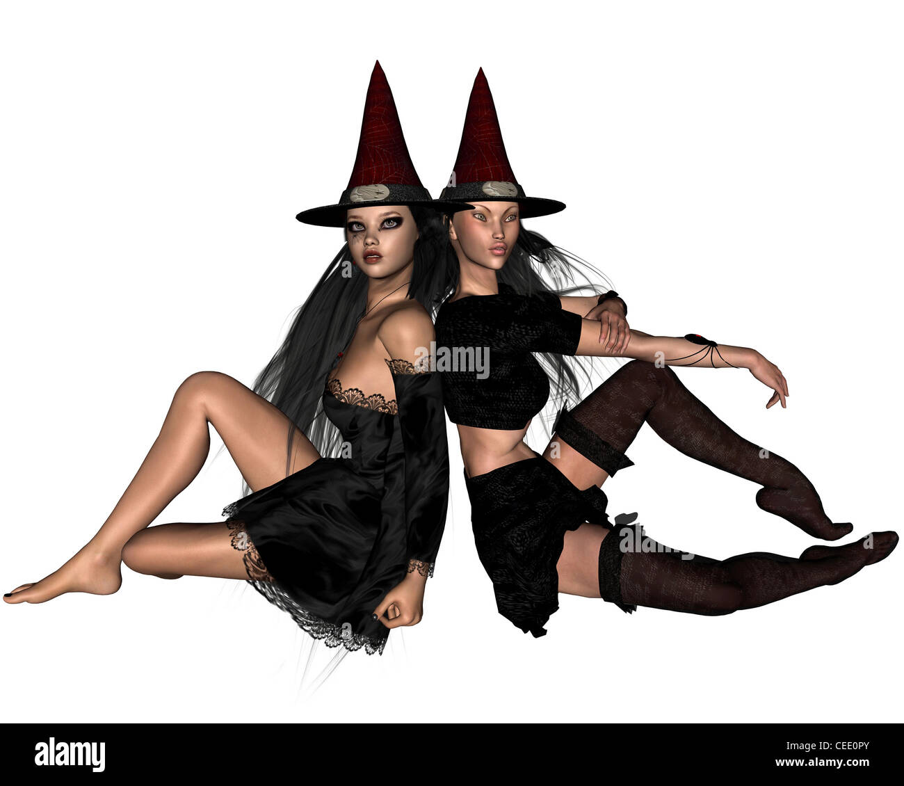 Two Witches - sitting - Stock Image