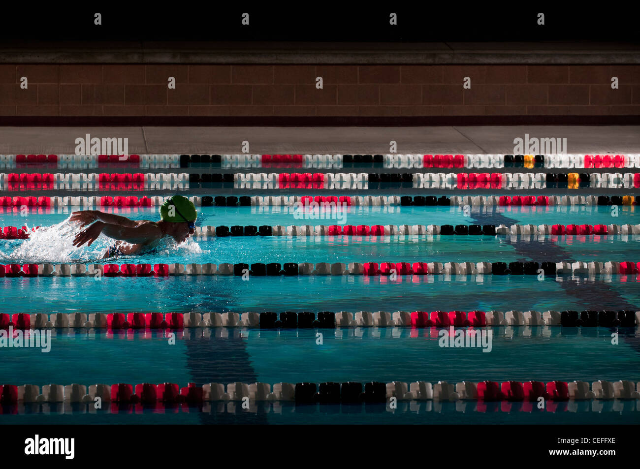 Woman swimming laps in pool - Stock Image