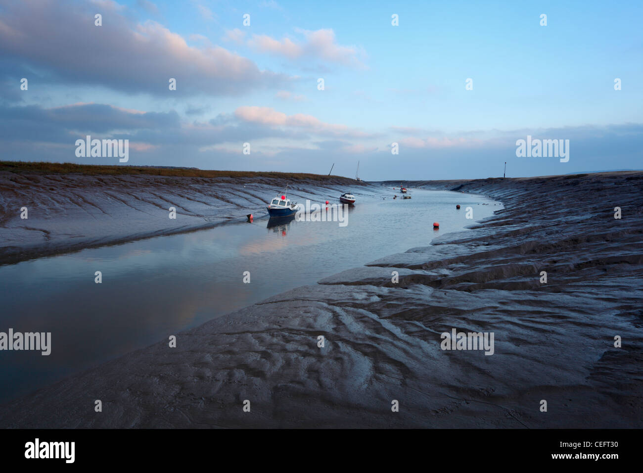 The River Axe at Low Tide. Weston-super-mare. Somerset. England. UK. - Stock Image