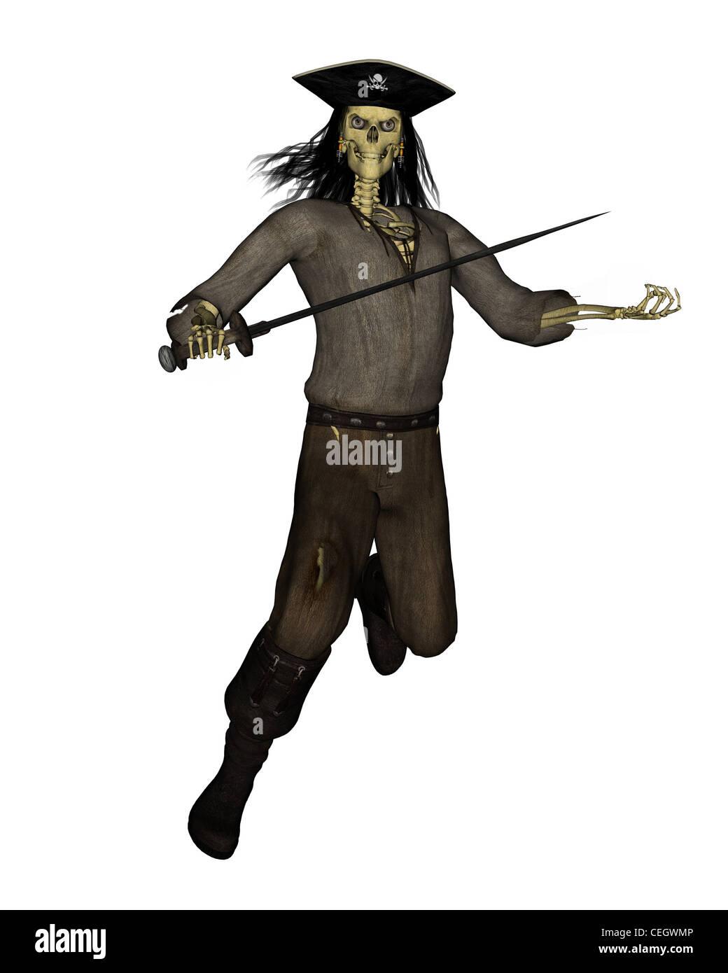 Undead Pirate Skeleton - 2 - Stock Image