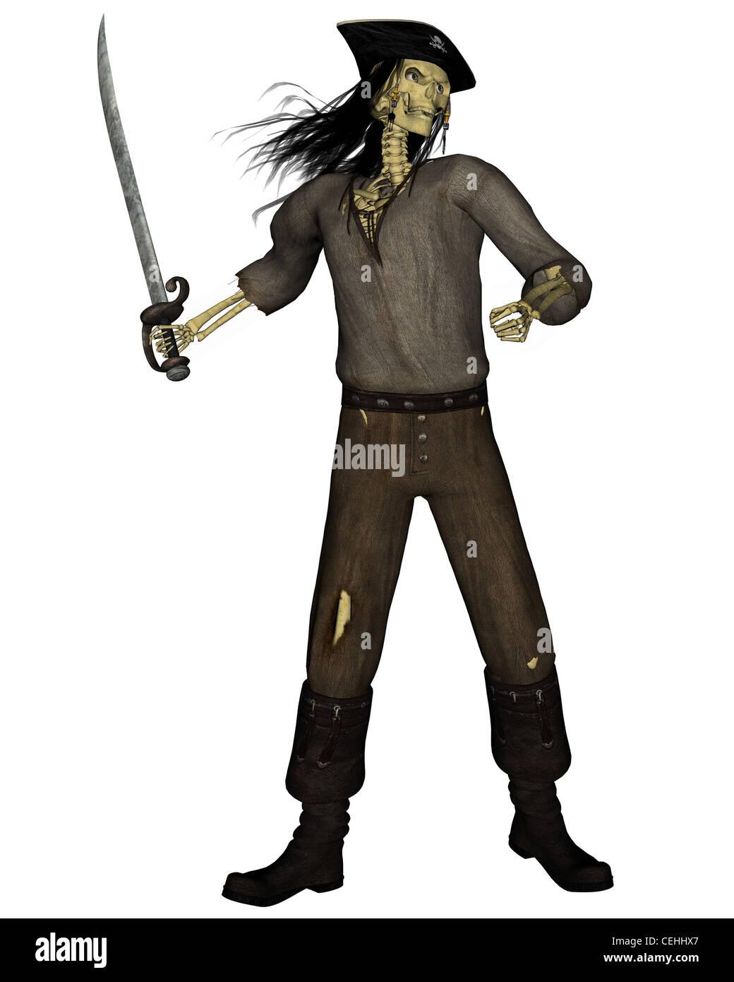 Undead Pirate Skeleton - 1 - Stock Image