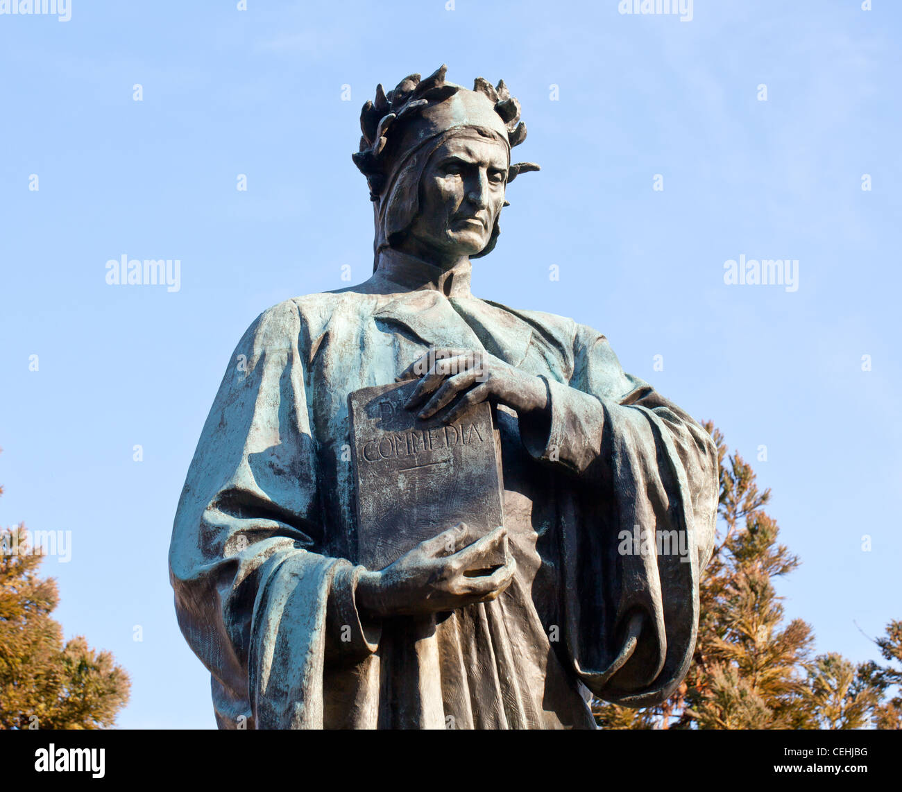 Statue of Dante holding Commedia book in Meridian Hill Park in Washington DC - Stock Image