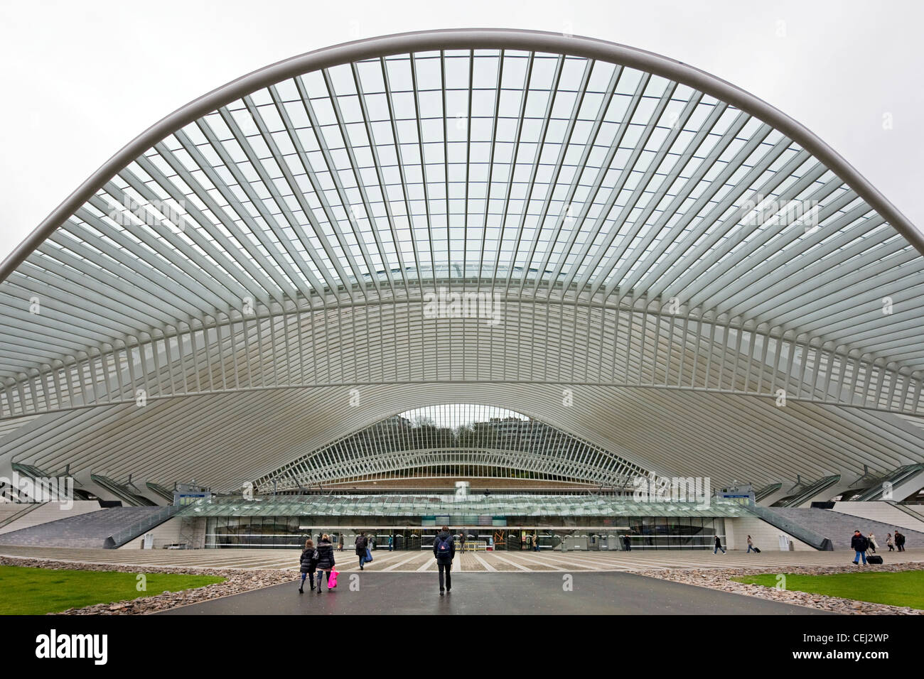 Entrance of the Liège-Guillemins train station at Liège, Belgium - Stock Image