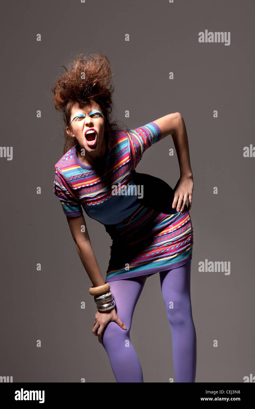 London street fashion.  Punk. Trendy. - Stock Image