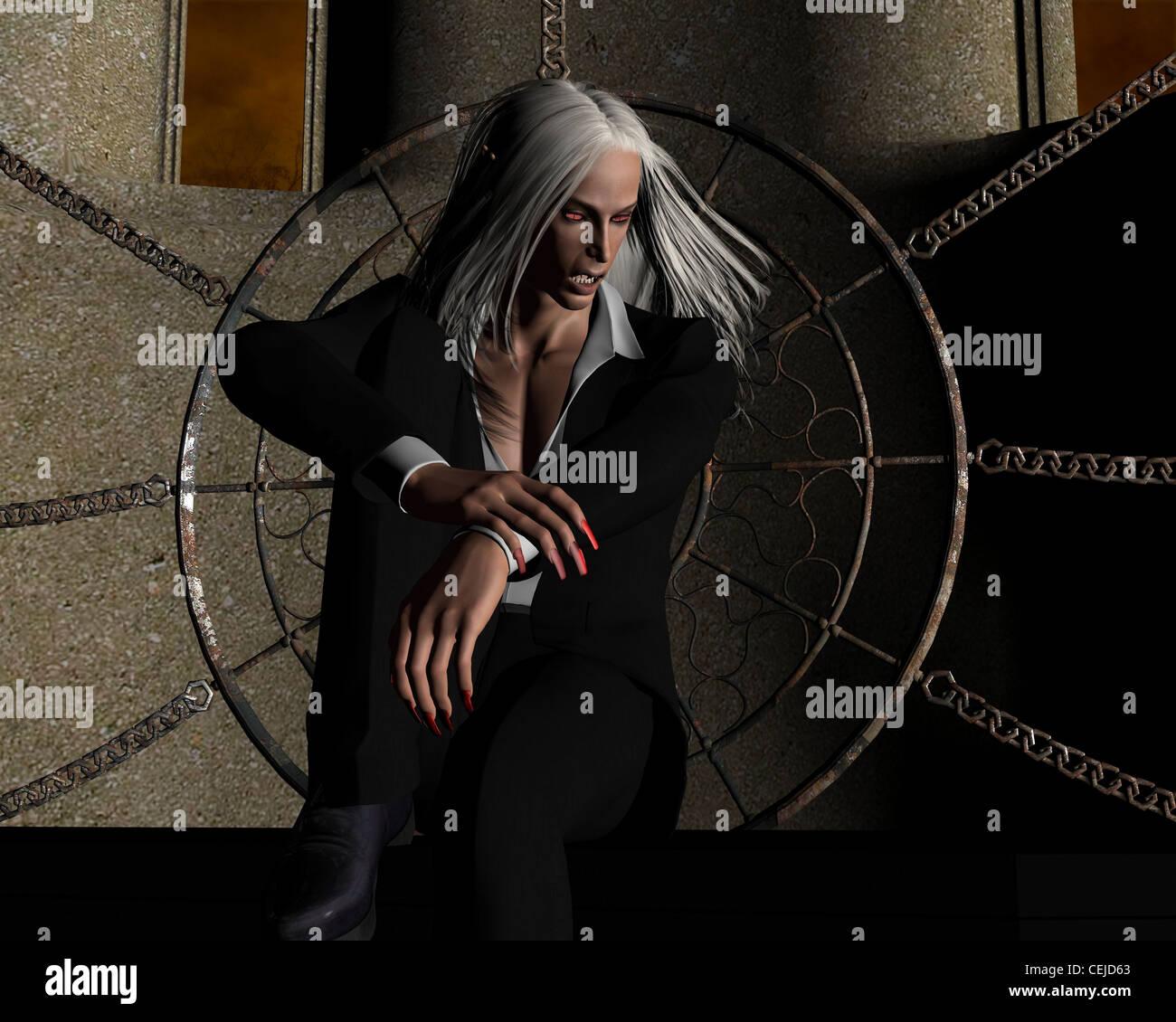 White Haired Vampire - Stock Image