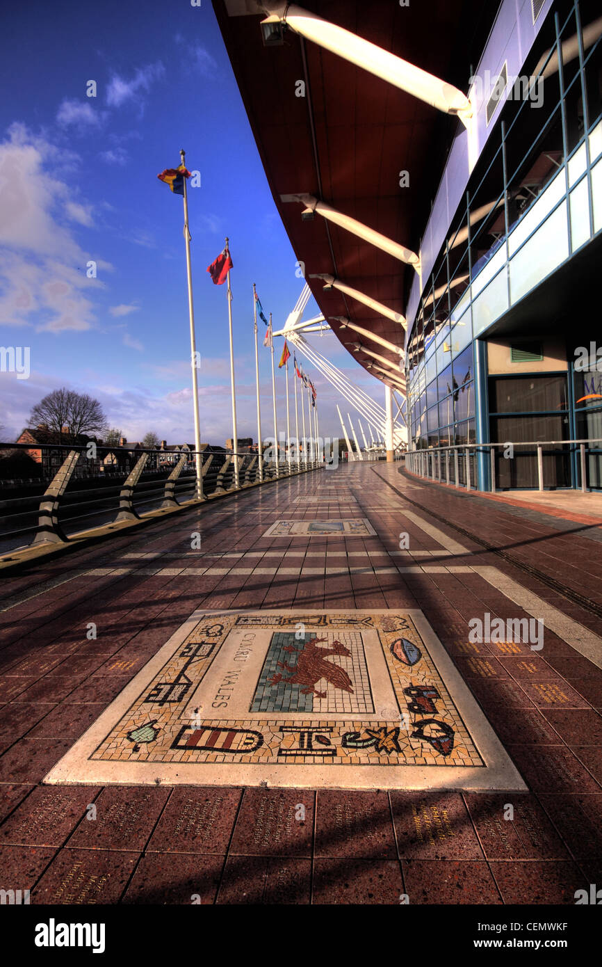 Cardiff Millennium Rugby Stadium,Wales City,UK,Wide,angle,view,showing,the,Welsh,team,Mosaic,on,the,floor,blue skies gotonysmith Welsh Stadiwm y Mileniwm is the,capital,Cardiff.,home,of,the,Wales,national,rugby,union,team,WRU,architects,Bligh,Lobb,Sports,national stadium of Wales,architects Bligh Lobb Sports Architecture fully retractable roof stadiums,gotonysmith,Buy Pictures of,Buy Images Of