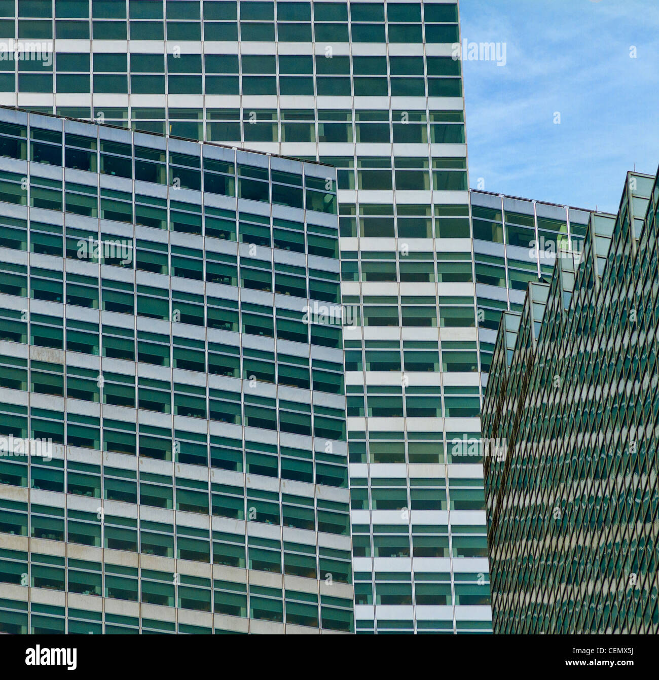 grouping of new york office towers multi faceted and interestingly composed. - Stock Image