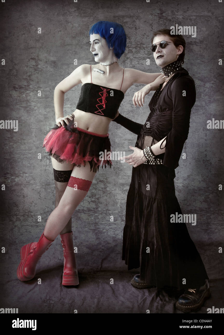 two young Goths figure photo - Stock Image