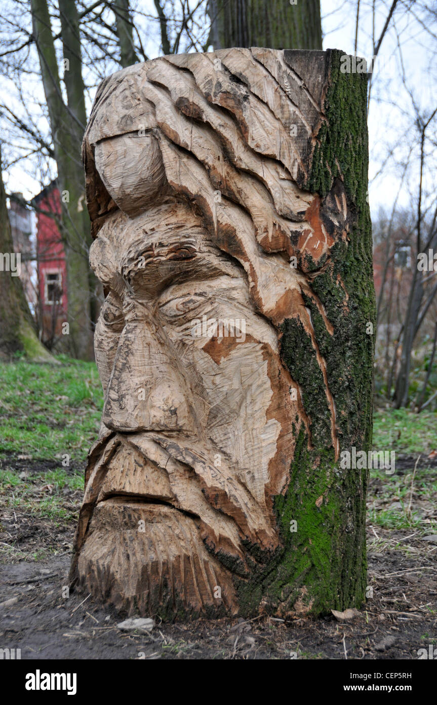 Viking sculpture wood carving tree stump cut beard