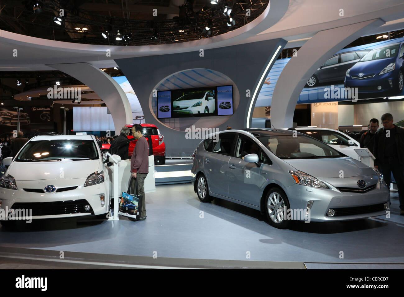 toyota prius electric hybrid car cars showroom - Stock Image