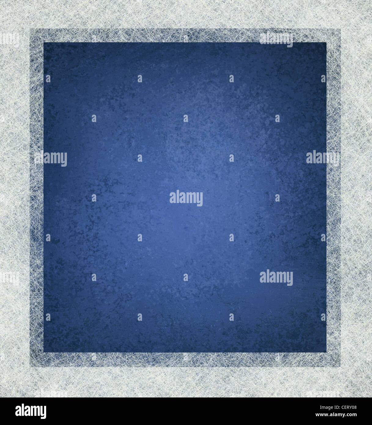 blue background with white frame and lots of texture, blue and white layout design - Stock Image