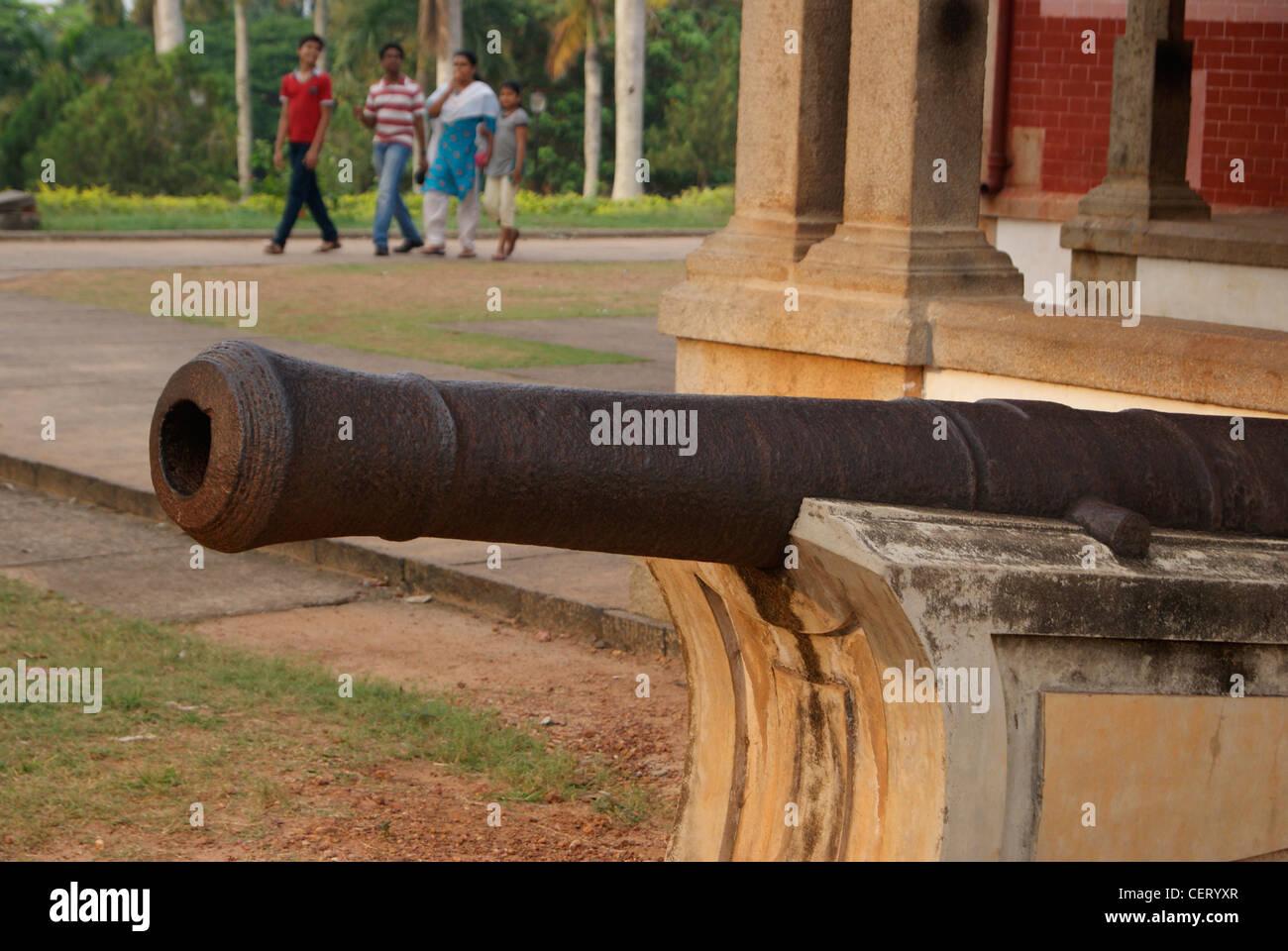 Ancient cannon war gun Displayed in Trivandrum Napier Museum ( Thiruvananthapuram Napier Museum ) of Kerala,India - Stock Image