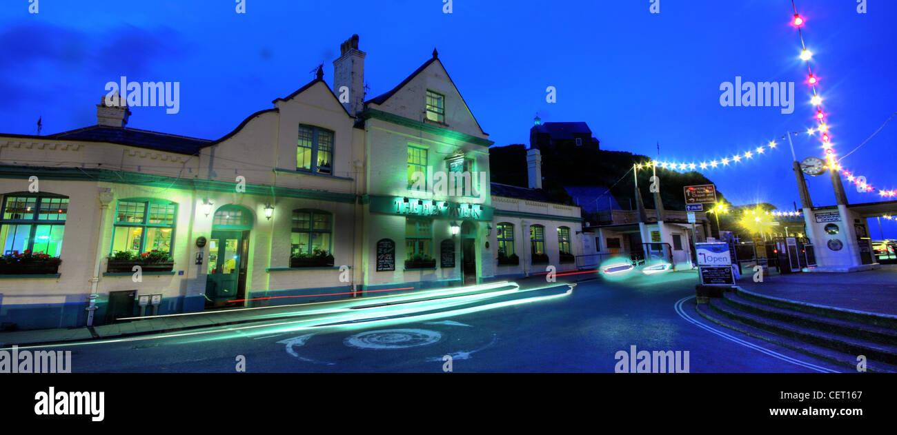 Night shot long exposure at Ilfracombe Pier tavern,North Dorset,SW England,UK,gotonysmith,The,Quay,Ilfracombe,EX34,9EQ,EX349EQ,holiday,tourist,destination,summer,English,freehouse,pub,alehouse,seaside,sea,side,harbour,gotonysmith,Buy Pictures of,Buy Images Of