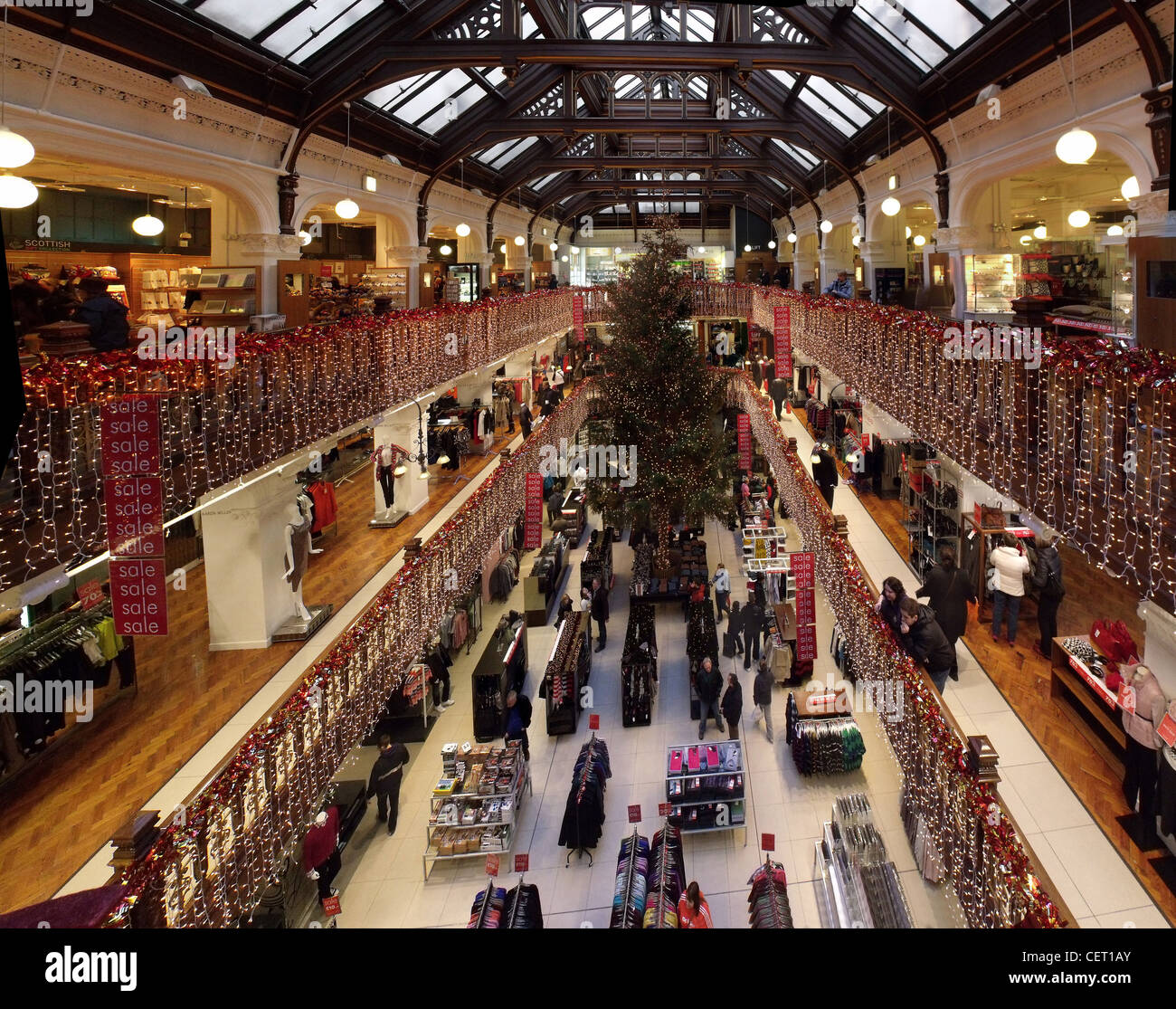 The,Jenners,Dept,store,Xmas,Tree,Edinburgh,Scotland,house,of,Frasier,HOF,Princes,St,Street,EDB,interior,inside,Department,gotonysmith,wide,angle,shop,shopping,retail,retailing,capital,city,concession,concessions,Harrods,of,the,north,scottish,stores,holding company JPSE Ltd,owned by the Douglas-Miller family,and,was,sold,Moorcroft,Capital,Management,in,August,2005,owned,Robbie,Douglas,Miller,former,Chief,Executive,of,Jenners,gotonysmith,Buy Pictures of,Buy Images Of