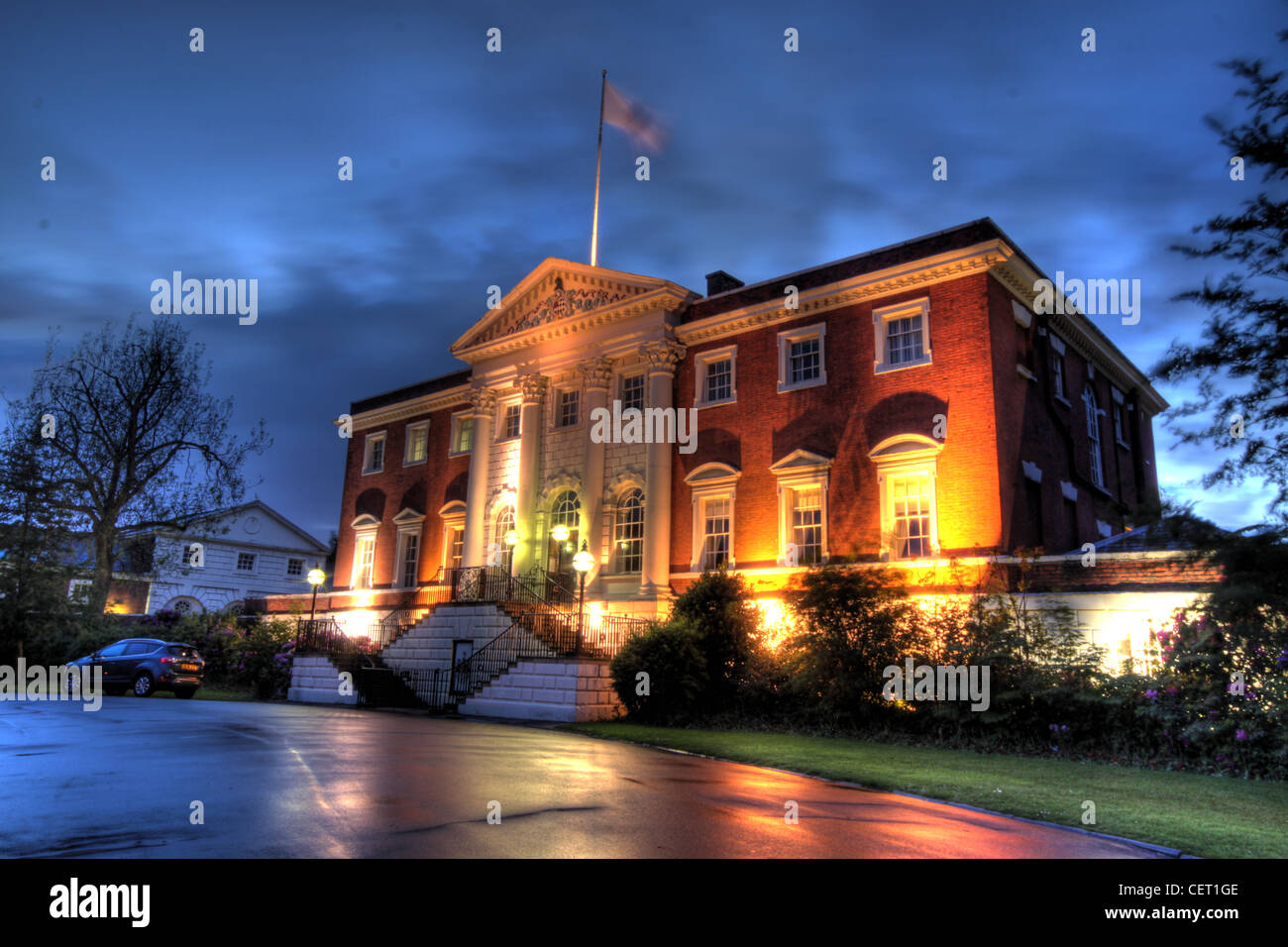 Dusk,At,Warrington,Town,Hall,Cheshire,England,UK,night,shot,reflection,reflections,gotonysmith,flag,flying,long,exposure,classic,english,british,building,architechture,bank,hall,architecture,building,stately,home,1750,Thomas,Patten,James,Gibbs,important,nightshot,image,rain,wet,path,road,roads,architectural,historian,Nikolaus,Pevsner,declared,it,to,be,the,finest,house,of,its,date,in,south,Lancashire,townhall,WA1,1UH,Warrington Town Hall,Town Hall Sankey St,Bewsey and Whitecross,Warrington WA1 1UH,gotonysmith,Warringtonians,WA11UH,Buy Pictures of,Buy Images Of