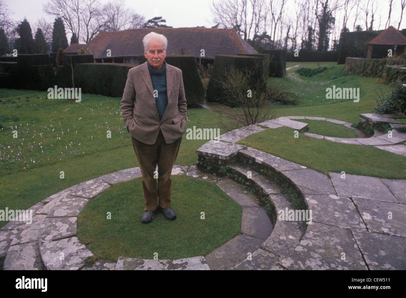 Christopher Lloyd at Great Dixter his country home East Sussex 1990s HOMER SYKES - Stock Image