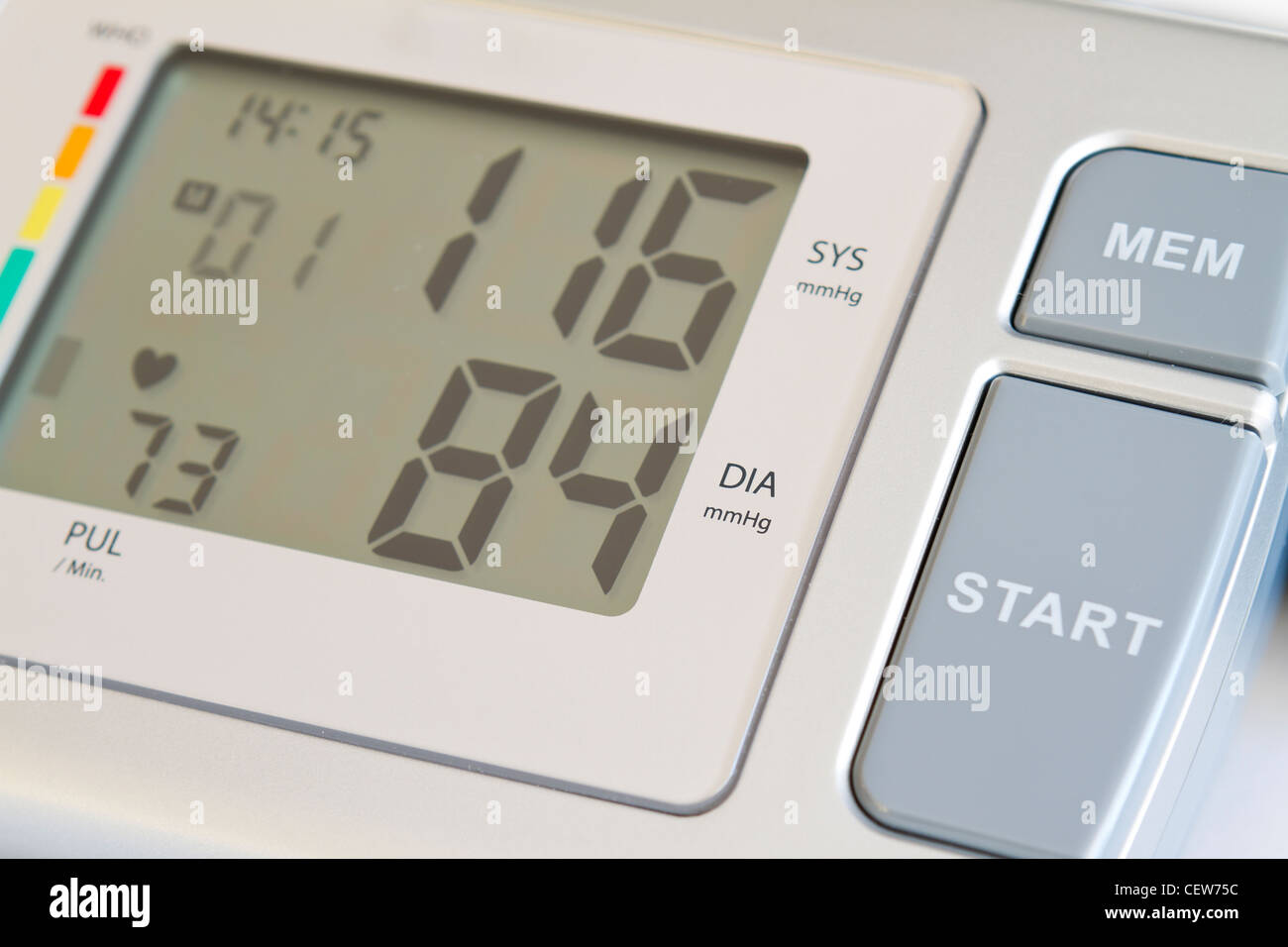 Consumer blood pressure monitor closeup up - Stock Image